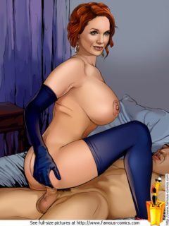 Busty bitch - Christina Hendrick nude Famous Comics